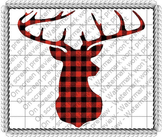 Red Checker Plaid Deer - Edible Cake and Cupcake Topper For Birthday's and Parties! - D1506