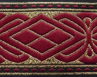 "Metallic Jacquard Ribbon Trim | 1-5/16"" Inch Woven Jacquard Ribbon | Renaissance Fair Costume Trim~Gold~Burgundy"
