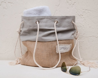 Gray Canvas Tote Large Beach Bag Beach Tote Burlap Grey Canvas Stripe Sandbag