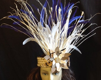 Tahitian And Rarotongan Headpiece..Weaved Palm Leaf, Lauhala And Authentic Tapa Cloth Flower. Perfect For Tahitian And Cook Island Dancers.