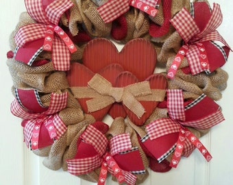 Rustic 3 Heart Burlap Valentine Wreath