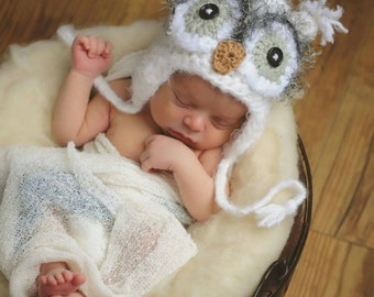 Owl Hat - Newborn Crochet Owl Hat, Newborn Photo Prop, Baby Owl Hat, White Owl Hat, Fuzzy Owl, Crochet hat for Baby, Baby Shower Gift