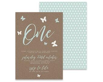 Printable Birthday Invitation | Butterfly Invite | Printable DIY Invite, Affordable Invitation, Digital Invite, Girl's Invite, 1st Birthday