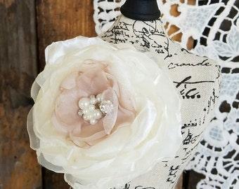 Bridal hair flower, bridal hair clip, fabric flower, Wedding Hair Flower, Bridal Accessories, flower hair clip, bridal hair piece, blush