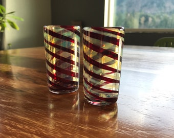 Hand blown red spiral glass shot glasses