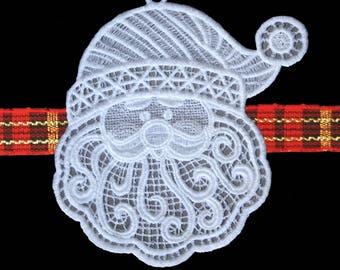 Santa FSL Embroidered Ornament