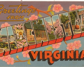 Linen Postcard, Greetings from Winchester, Virginia, Apple Blossom, Large Letter