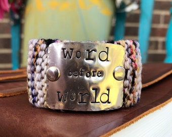 Custom Stamped Knit Bracelet, Word before World, Inspirational Quote Wrap Bracelet, Motivational Jewelry, Personalized Gift