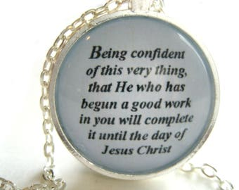 Bible Verse Necklace - Scripture Necklace - Being Confident Scripture Necklace - Philippians 1:6 - Christian Necklace - Gift Box Included