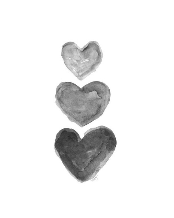 Black Heart Watercolor Print Charcoal Art Grey Art Black