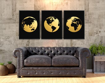 """Earth Maps Real Gold Foil Print set of 3 Large up to 16""""x20"""" Hemisphere America Europe Africa Asia Australia globe map Poster GoldenGraphy"""