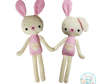 Easter Bunny Pattern, Rabbit Toy Pattern, Bunny Sewing Pattern, Rabbit Pattern, Smiling Bunny Doll Pattern, Bunny Stuffie , Bunny Plushie