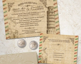 Vintage Italian Wedding Stationery Set; Invitation and Reply Card, Printable, Evite or Printed (US Only) Invitations