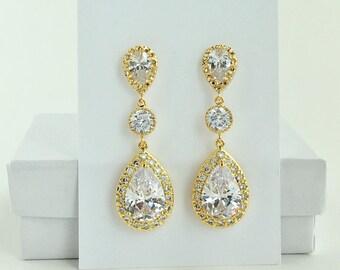 Gold Crystal Earrings Gold Bridal Earrings Gold Cubic Zirconia Drop Earrings Gold Wedding Teardrop Earrings Gold Bridesmaid Jewelry