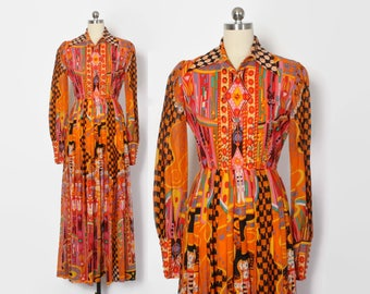 RESERVED // Vintage 60s Maxi DRESS / 1960s Bright Malcolm Starr Psychedelic Dress