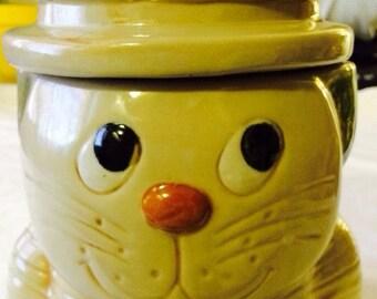 Vintage Cat in Chef's Hat Cookie Jar