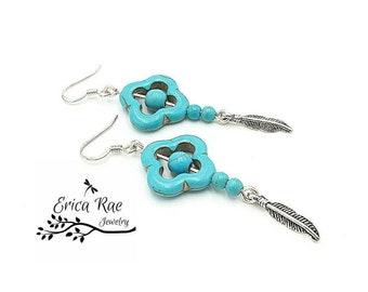 Turquoise earrings, turquoise gemstone earrings, silver earrings, feather charm, western earrings, western jewelry, boho, country girl