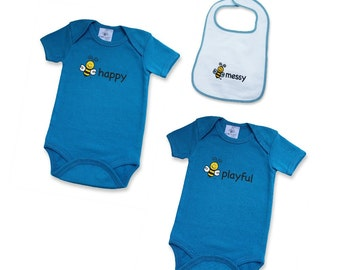 2 Bodysuits + 1 Bib Gift Set | Organic Cotton | Denim Blue | Screened: bee playful and bee happy | Embroidered BEE MESSY Bib | 3M | 6M | 12