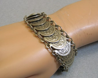 Faux Antique Coin Link Style Bracelet, 7 to 8 Inch Length