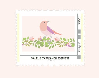Stamp personalized birth announcement - floral Collection
