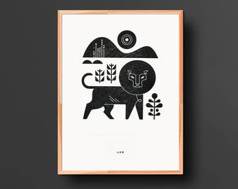 Leo Letterpress Print
