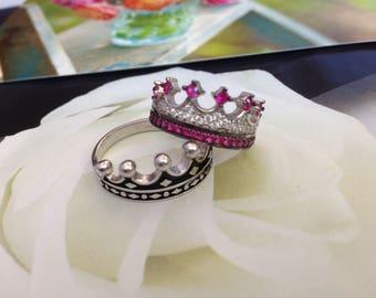 crown ring,silver crown ring,queen ring,king ring,crown ring set