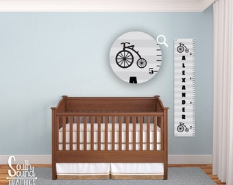 Growth Chart for Boys - Kids Room Wall Decor - Bicycle Custom Wall Hanging - Children's Personalized Growth Chart - Kid Vintage Bike Bedroom