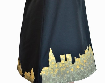 Black and gold midi skirt, Hand-painted skirt, Cotton skirt, A line skirt, Applique skirt, Office skirt, Autumn skirt, Elegant women's skirt