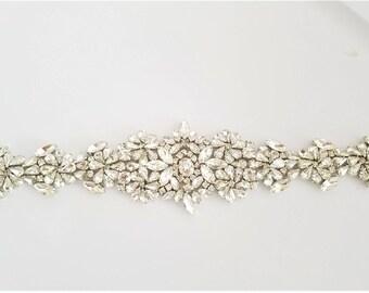 Wedding Belt, Bridal Sash Belt - SILVER Crystal Wedding Sash Belt
