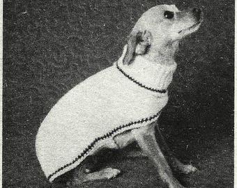 Cat or Dog Coat - Sweater Knitting Pattern Vintage 726116