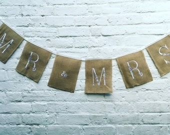 Mr and Mrs bunting, Mr Mrs bunting, Mr & Mrs Wedding bunting, Wedding bunting, Burlap bunting/ banner, Rustic bunting
