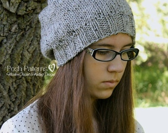 Knitting PATTERN - Slouchy Hat Knitting Patterns - Knitting Patterns for Men - Knitting Patterns for Women - Includes 6 Sizes - PDF 338