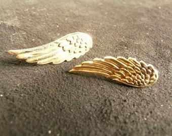 Earrings, brass stud earrings, wing design