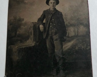 Tintype Photo Young Man Wearing Hat Pastoral Country Backdrop