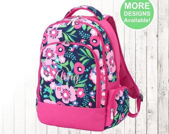 Personalized Girls Pink Flower Pattern Backpack and Optional Matching Lunch Box with embroidered Name or Monogram Elementary & Middle School