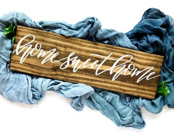 Wood Home Sweet Home Sign | Farmhouse Decor | Rustic Home Decor |Housewarming Gift | Wedding Gift | Farmstyle| Calligraphy Sign | Wall Decor