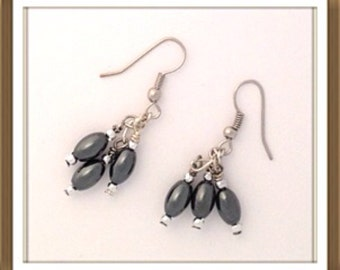 Handmade MWL marcasite and silver spacers earrings. 0081
