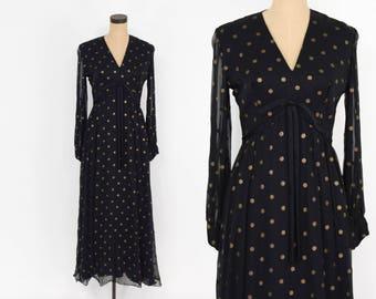 60s Black Evening Dress   Black & Gold Polka Dot Chiffon Dress   Medium