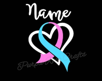 Forever in our Hearts Miscarriage Infant Baby Loss Awareness Ribbon Name Personalized Decal Sticker Cling for Window, Car, Cup, Laptop