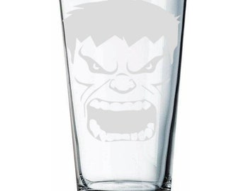 Incredible Hulk Face - Etched pint glass