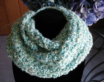 Seafoam Cowl Scarf, Infinity Scarf, Crocheted Scarf, Winter Scarf