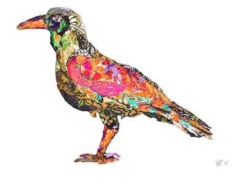 illustrated bird postcard, art card bird, art postcard,  colorful bird print, animal greetings card -Eco Friendly Stationery