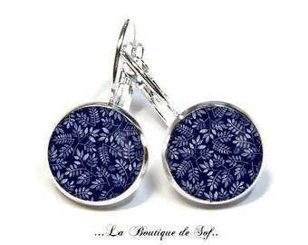 925 Sterling Silver, earrings, Stud Earrings, glass cabochons, 12 mm, 18 mm or 25 mm (170218) leaves 3 sizes