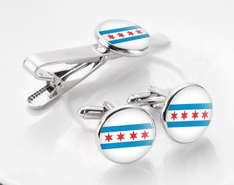 Chicago Flag Cuff Links, Flag of chicago cuff links, personalized cuff links, tie clips, custom flag, map, wedding cufflinks, groom gifts