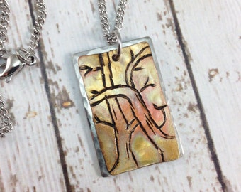 Tree Copper and Stainless Steel Necklace - handstamped with heat patina