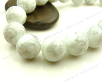 Dove Gray and White Round Glass Beads - 6mm Smooth Mottled Beads, Shiny Colorful Bohemian Beads - 32pcs - BL30