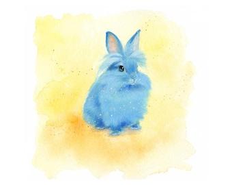 Blue Bunny Watercolor Gouache Art