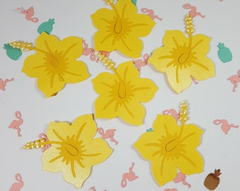 "6  2"" Hibiscus Scrapbook Embellishments, Hibiscus Die Cuts Card Topper"