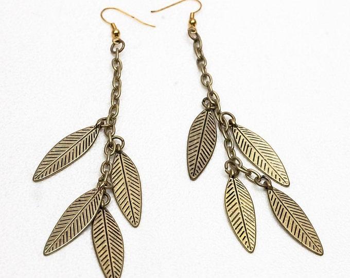 Bronze Dangle Leaf  Boho Chic Hippie Jewelry Earrings