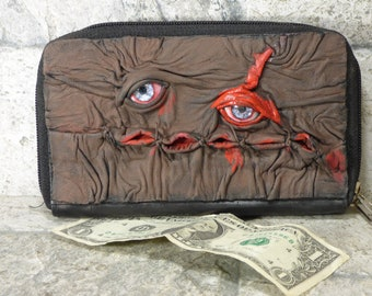 Wallet Woman Clutch With Zombie Horror Face Double Zippered Organizer Brown Black Leather 245
